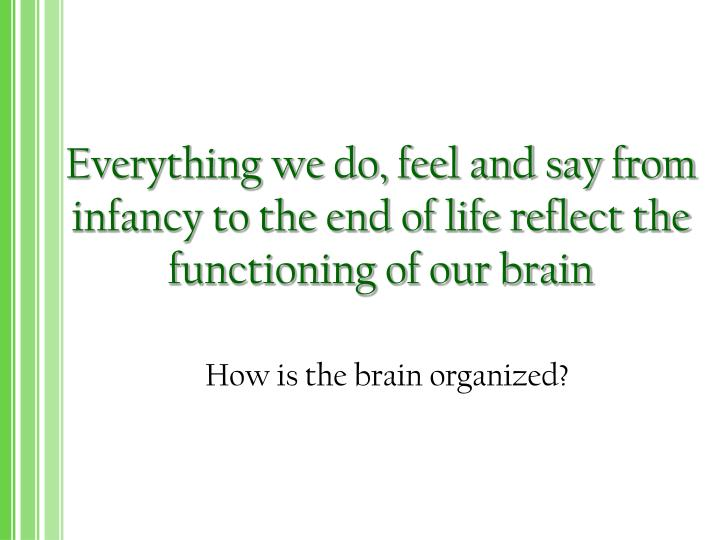 Everything we do feel and say from infancy to the end of life reflect the functioning of our brain