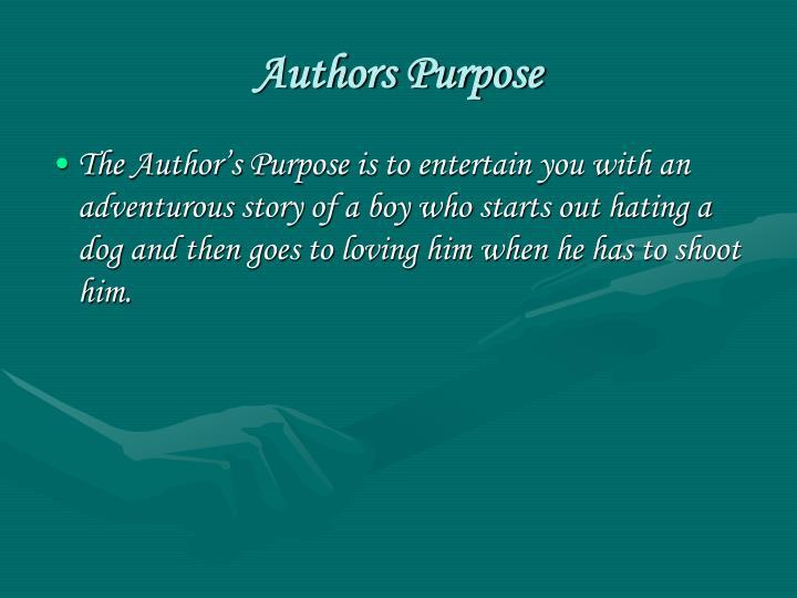 Authors Purpose
