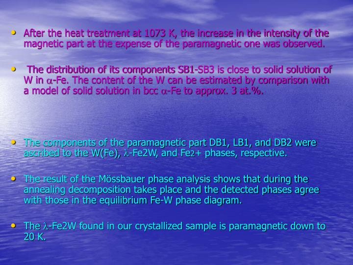 After the heat treatment at 1073 K, the increase in the intensity of the magnetic part at the expense of the paramagnetic one was observed.