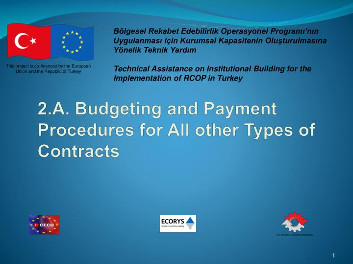 2 a budgeting and payment procedures for all other types of contracts
