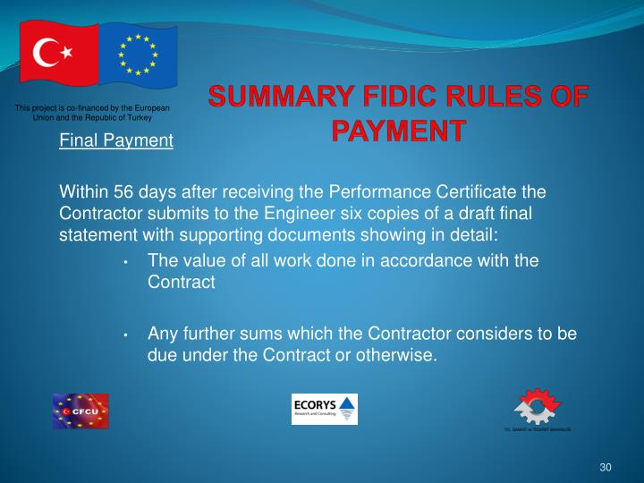 SUMMARY FIDIC RULES OF