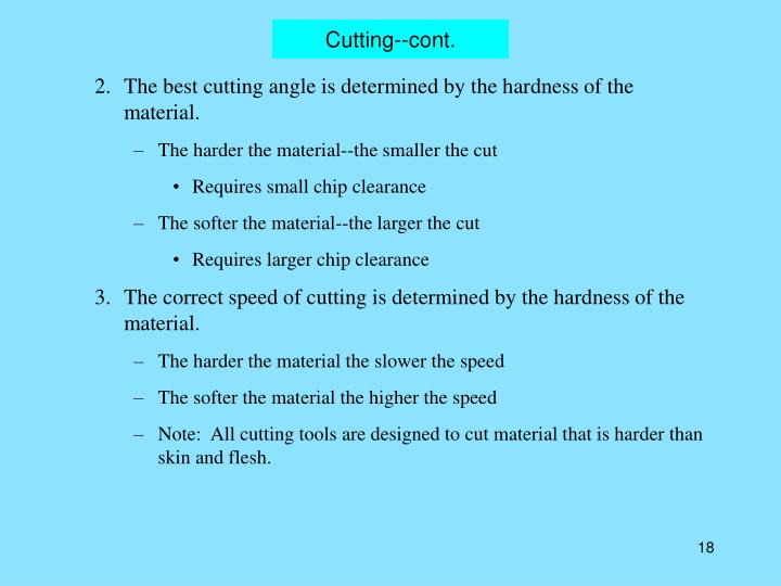 Cutting--cont.