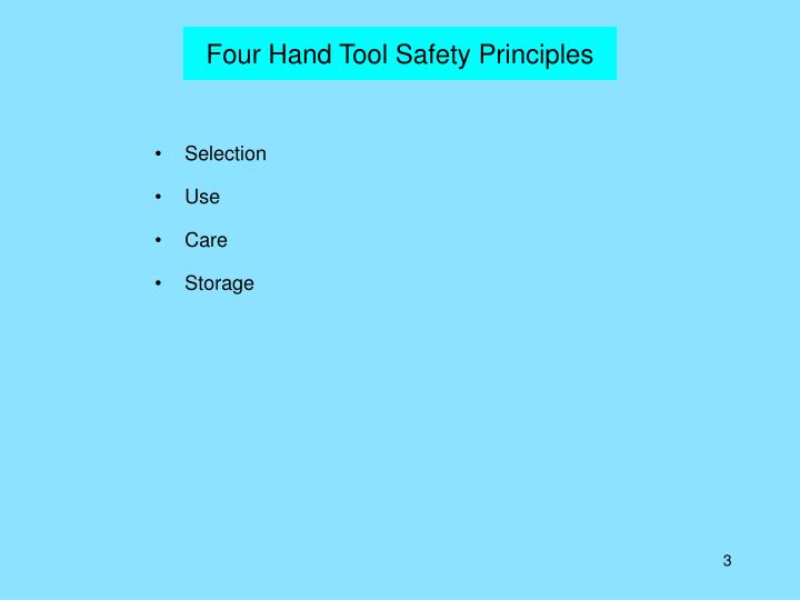 Four hand tool safety principles