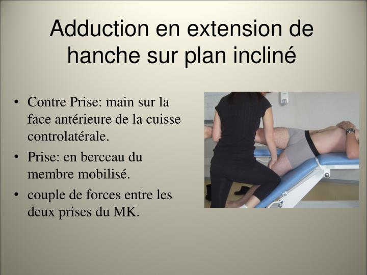 Adduction en extension de hanche sur plan inclin