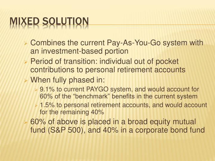 Combines the current Pay-As-You-Go system with an investment-based portion