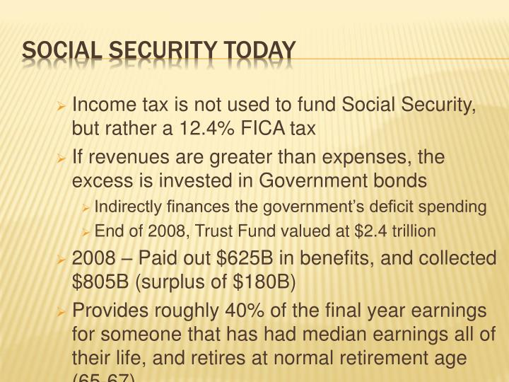 Income tax is not used to fund Social Security, but rather a 12.4% FICA tax