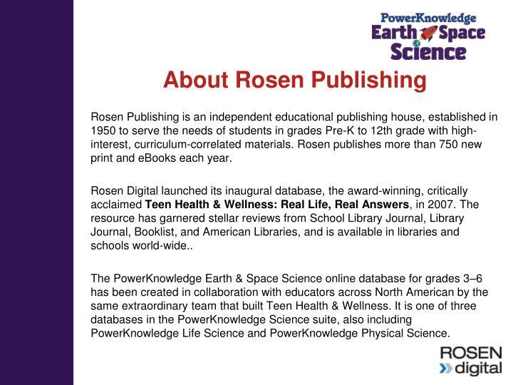 About Rosen Publishing