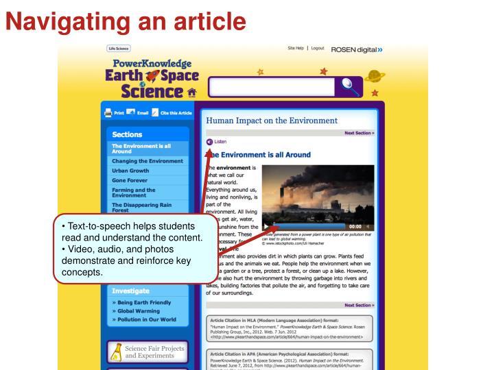 Navigating an article