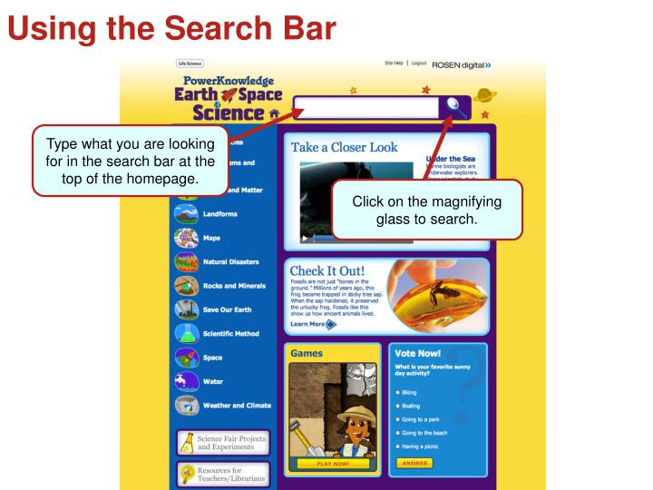 Using the Search Bar