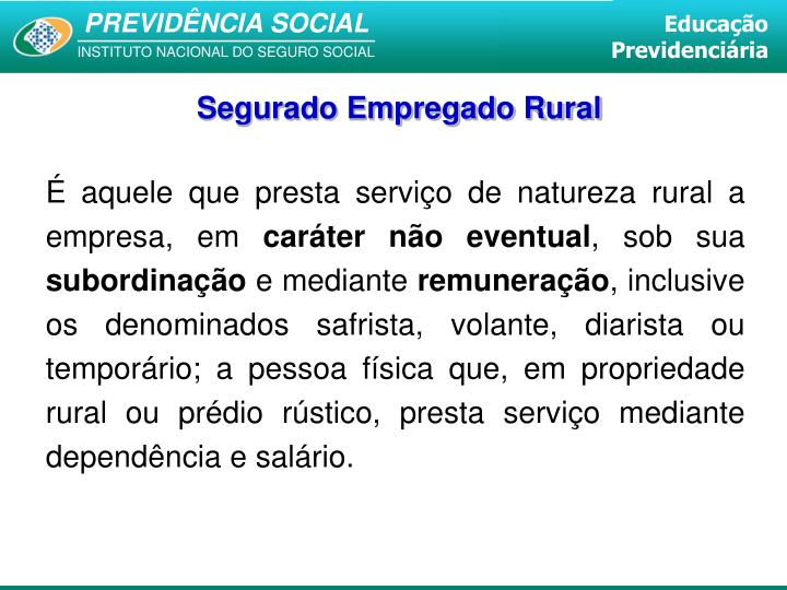 Segurado Empregado Rural