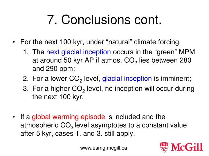 7. Conclusions cont.