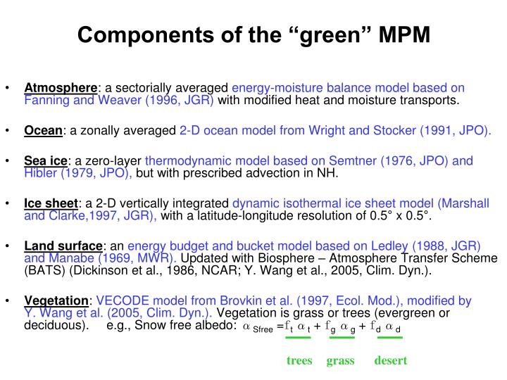 "Components of the ""green"" MPM"