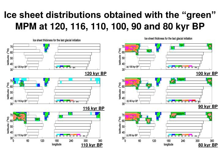 "Ice sheet distributions obtained with the ""green"" MPM at 120, 116, 110, 100, 90 and 80 kyr BP"