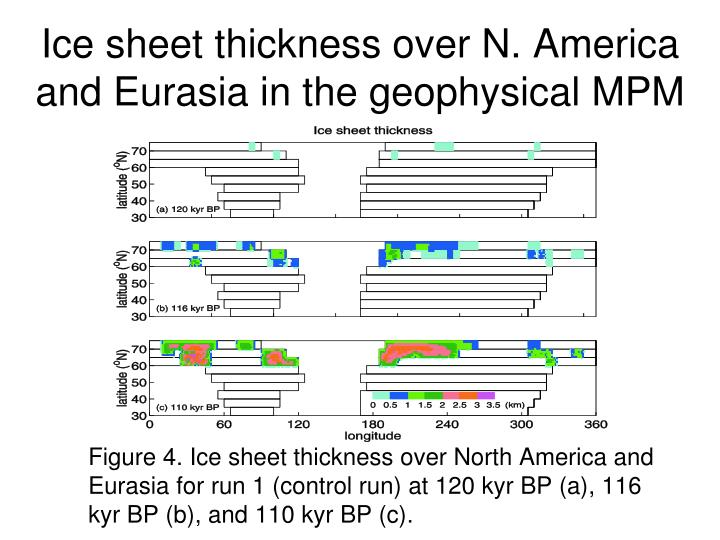 Ice sheet thickness over N. America and Eurasia in the geophysical MPM