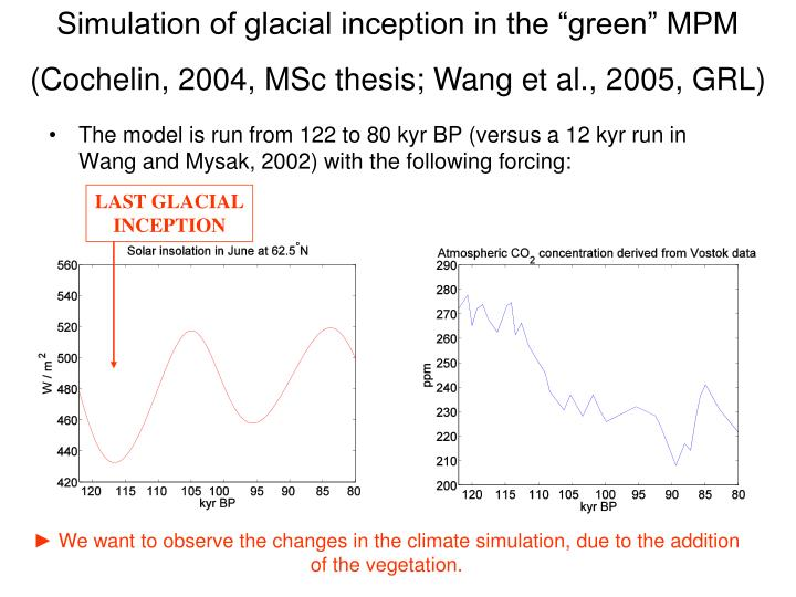 "Simulation of glacial inception in the ""green"" MPM"