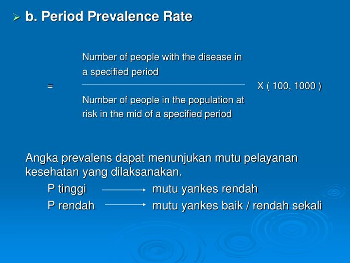 b. Period Prevalence Rate