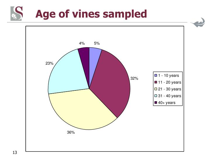 Age of vines sampled