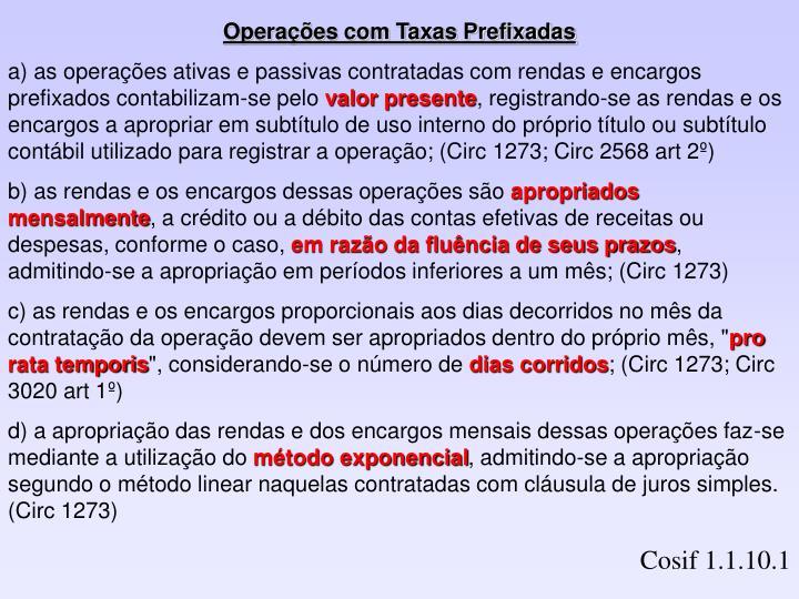 Operações com Taxas Prefixadas