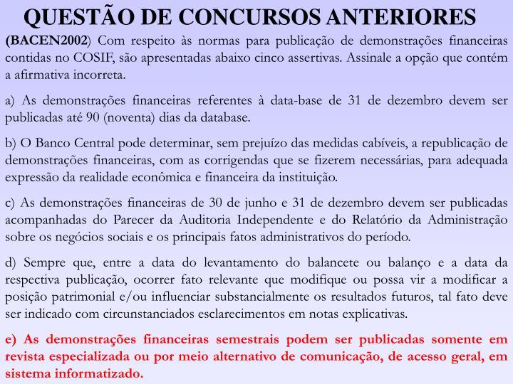 QUESTÃO DE CONCURSOS ANTERIORES