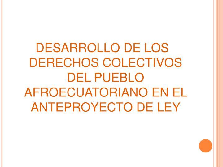 DESARROLLO DE LOS DERECHOS COLECTIVOS DEL PUEBLO AFROECUATORIANO EN EL ANTEPROYECTO DE LEY