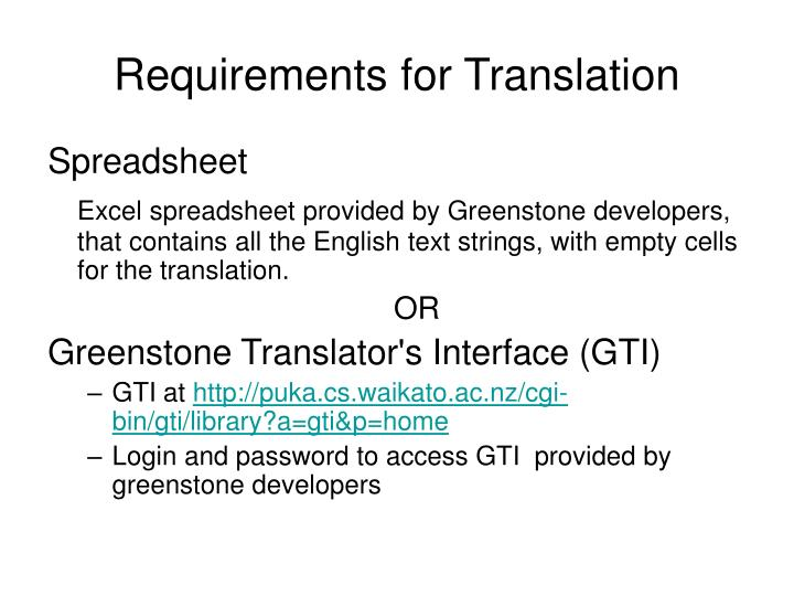 Requirements for Translation