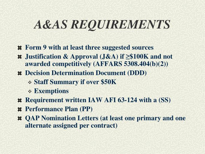 A&AS REQUIREMENTS