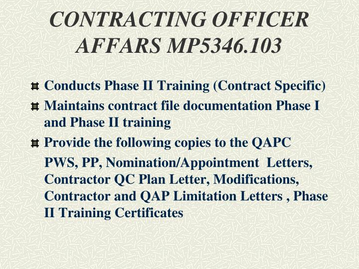 CONTRACTING OFFICER