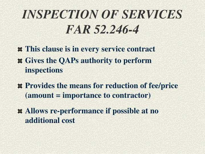 INSPECTION OF SERVICES