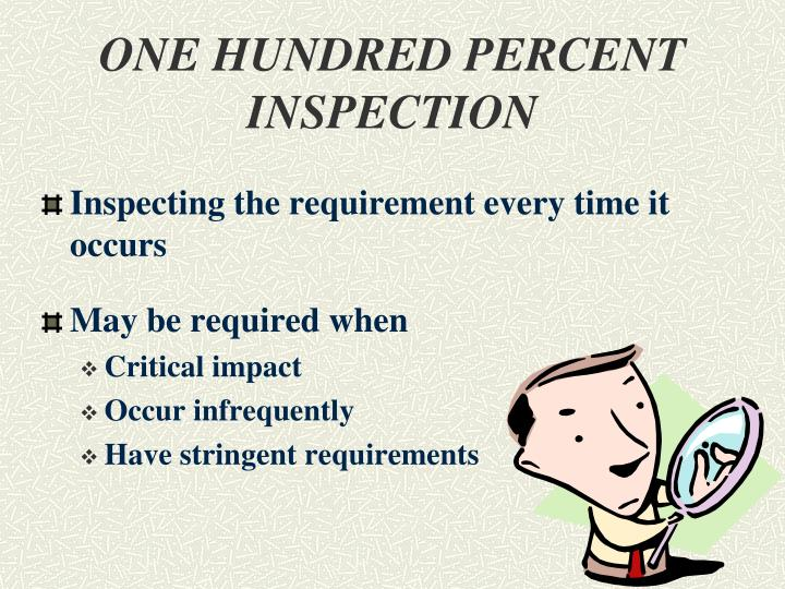 ONE HUNDRED PERCENT INSPECTION