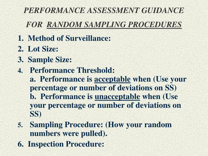 PERFORMANCE ASSESSMENT GUIDANCE FOR