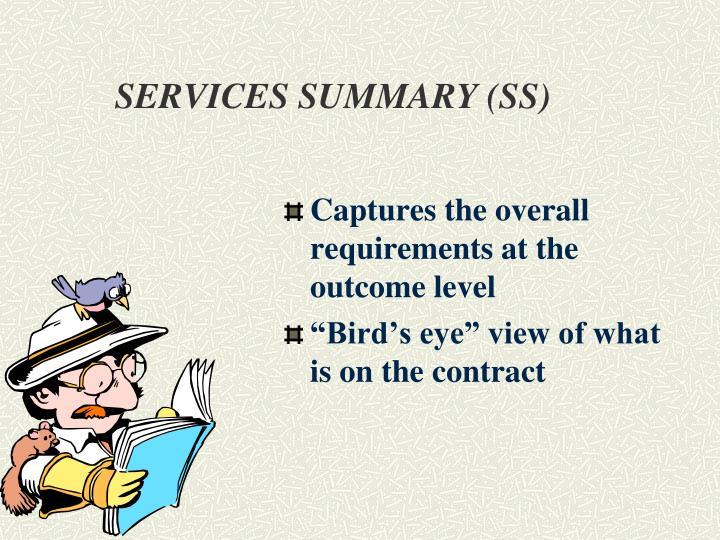 SERVICES SUMMARY (SS)