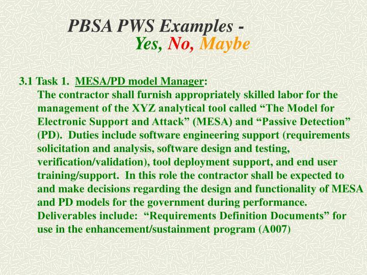 PBSA PWS Examples -
