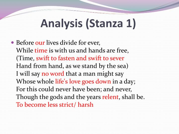 Analysis (Stanza 1)
