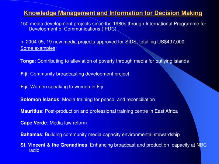 Knowledge Management and Information for Decision Making