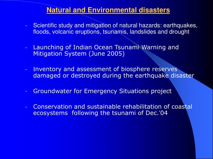 Natural and Environmental disasters