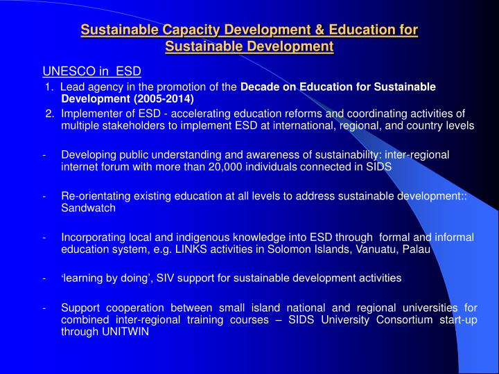 Sustainable Capacity Development & Education for Sustainable Development