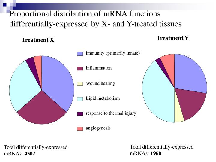 Proportional distribution of mRNA functions differentially-expressed by X- and Y-treated tissues