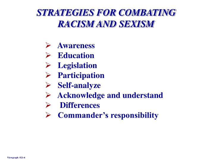 STRATEGIES FOR COMBATING RACISM AND SEXISM