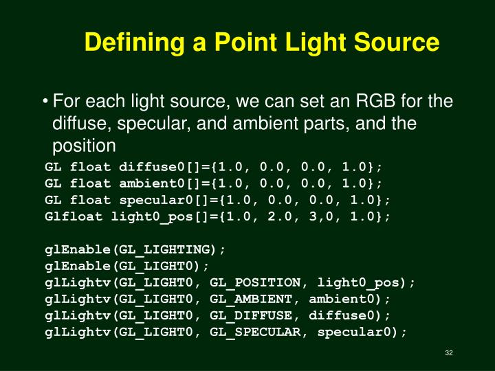 Defining a Point Light Source