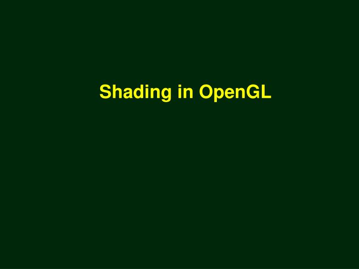 Shading in OpenGL