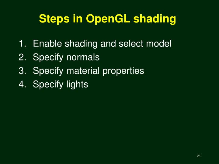 Steps in OpenGL shading