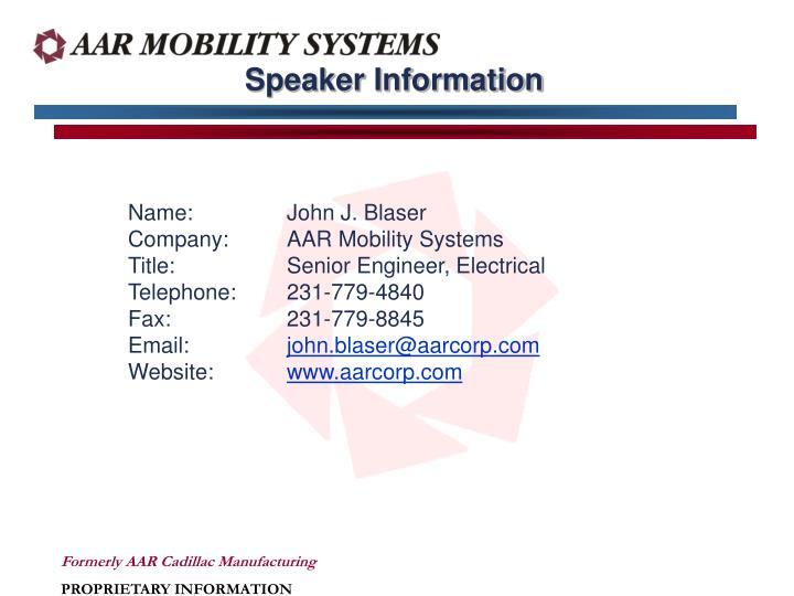 Speaker Information