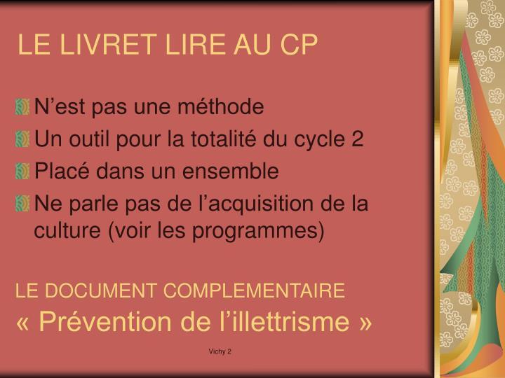 LE LIVRET LIRE AU CP