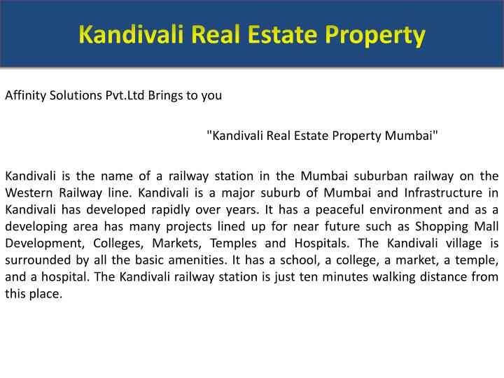 Kandivali real estate property