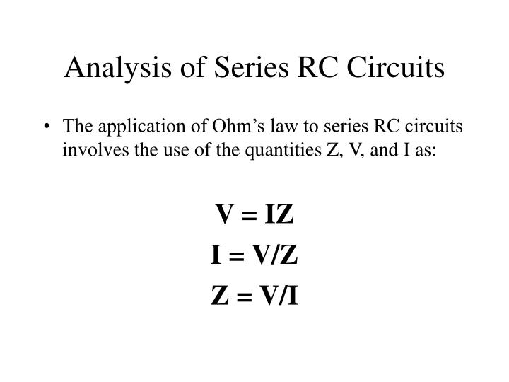 Analysis of Series RC Circuits