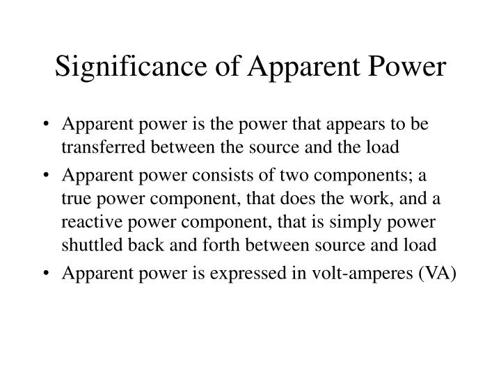 Significance of Apparent Power