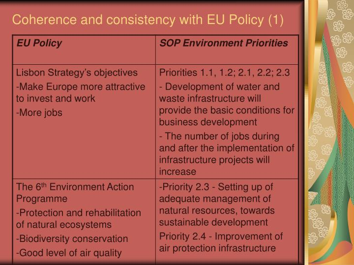 Coherence and consistency with EU Policy (1)