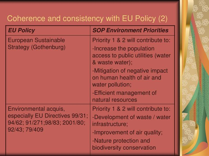 Coherence and consistency with EU Policy (2)