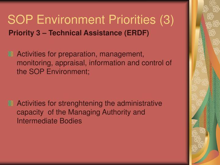 SOP Environment Priorities (3)