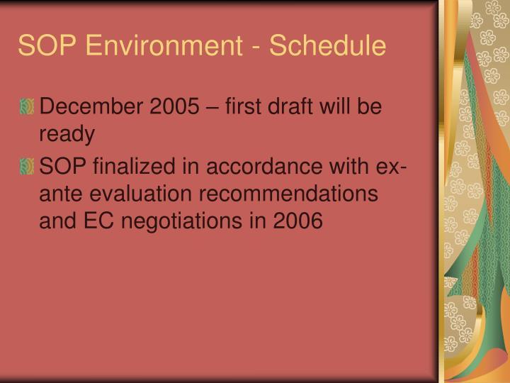 SOP Environment - Schedule